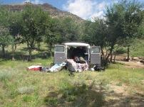 Wir schlagen unser Camp irgendwo 300 km außerhalb von Ulan Bator auf.